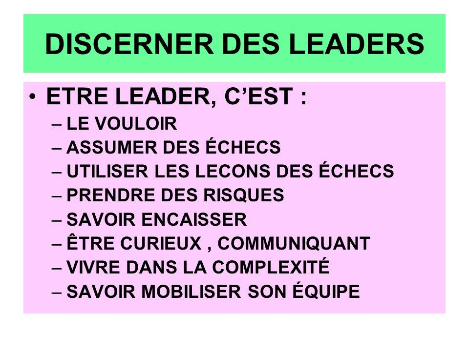 DISCERNER DES LEADERS ETRE LEADER, C'EST : LE VOULOIR