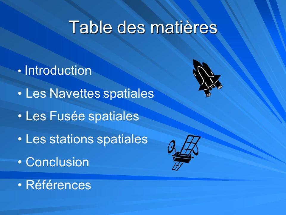 Table des matières Les Navettes spatiales Les Fusée spatiales