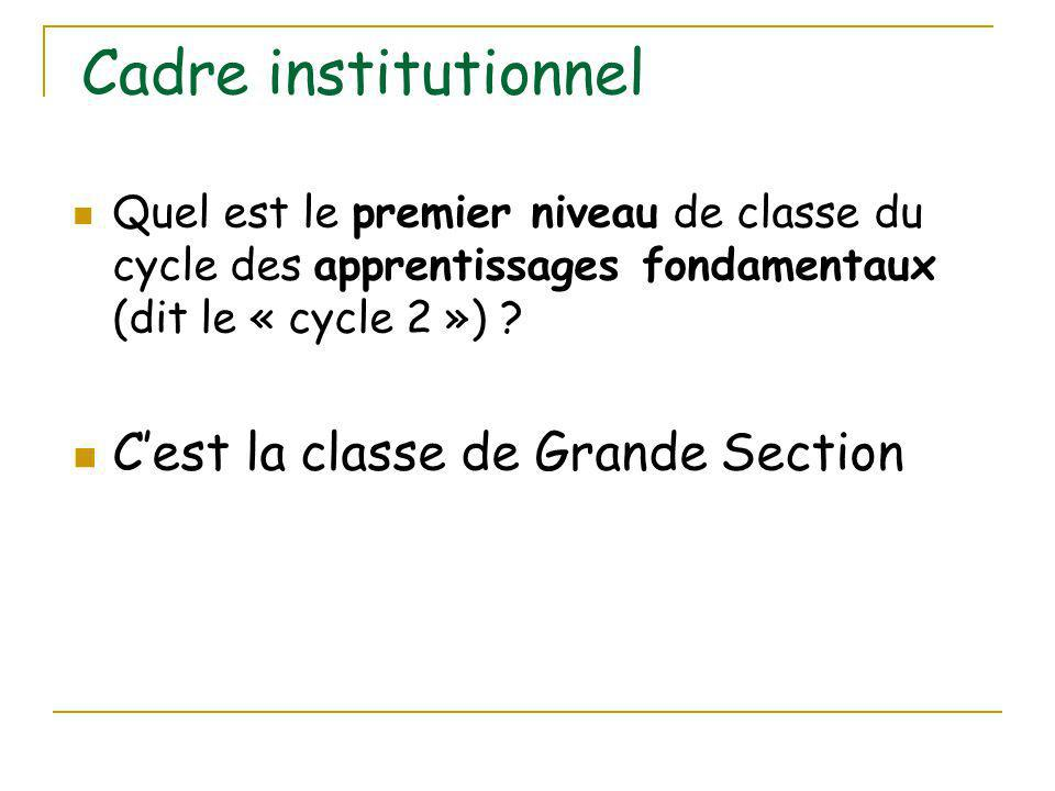 Cadre institutionnel C'est la classe de Grande Section