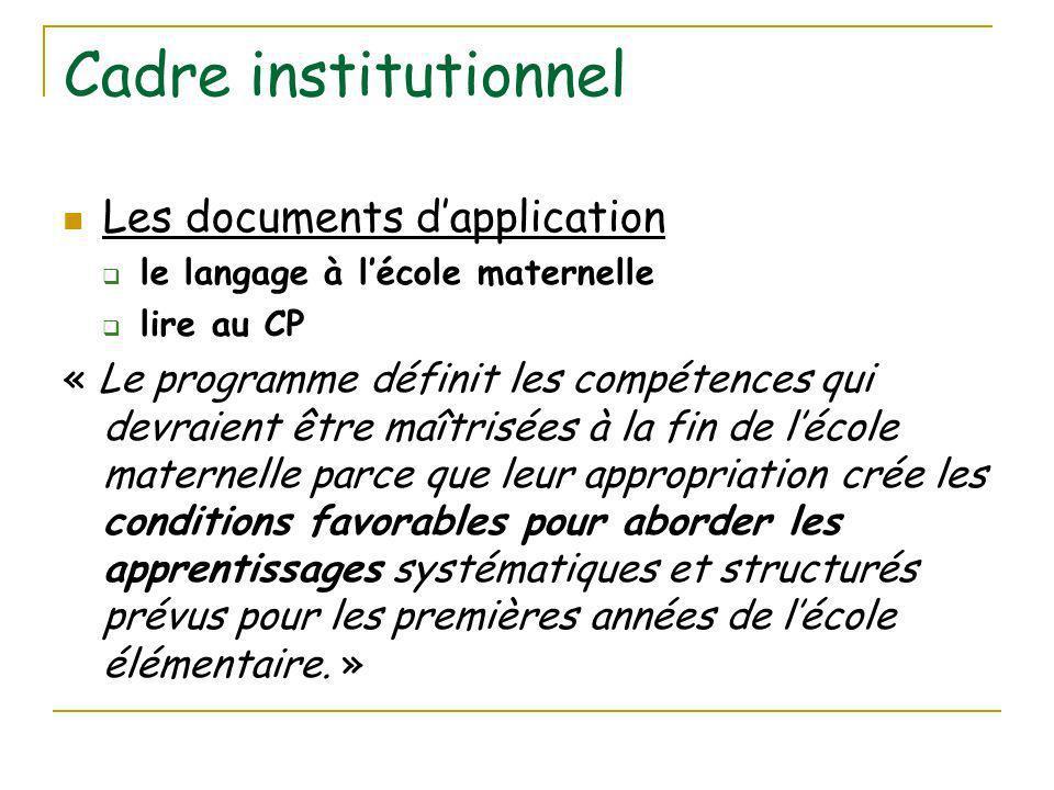 Cadre institutionnel Les documents d'application