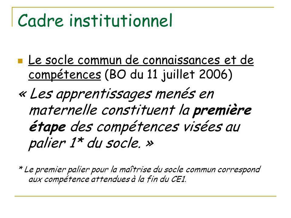 Cadre institutionnel Le socle commun de connaissances et de compétences (BO du 11 juillet 2006)