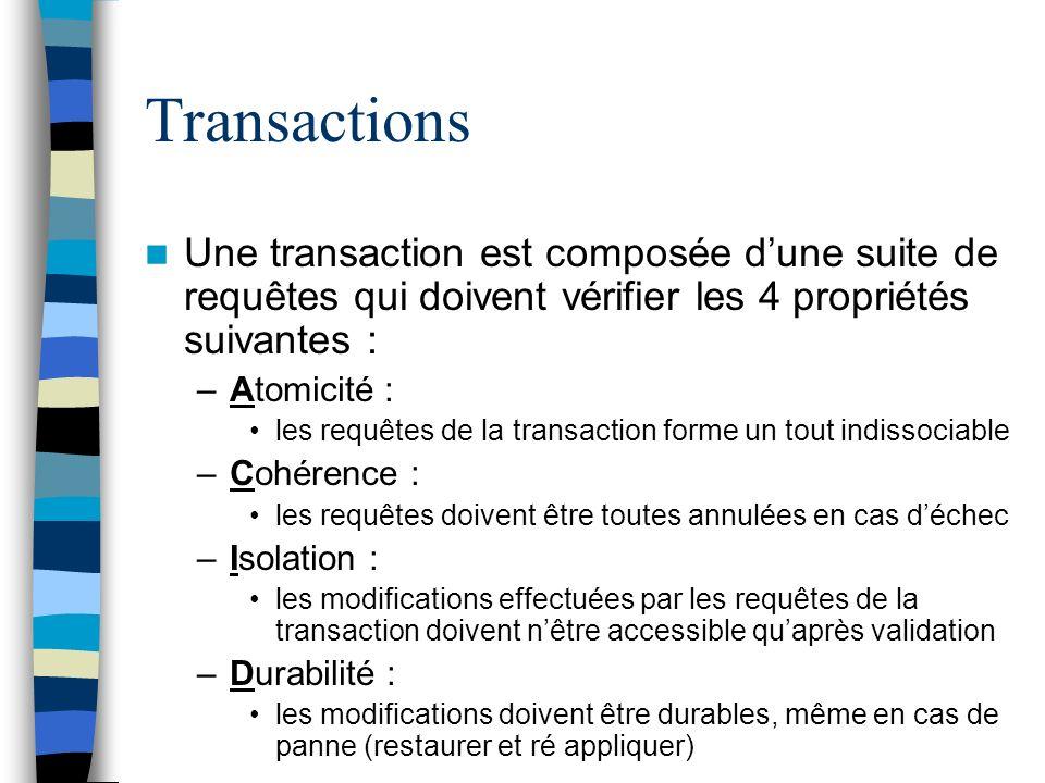 Transactions Une transaction est composée d'une suite de requêtes qui doivent vérifier les 4 propriétés suivantes :