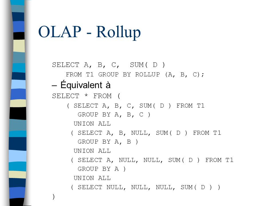 OLAP - Rollup Équivalent à SELECT A, B, C, SUM( D ) SELECT * FROM ( )