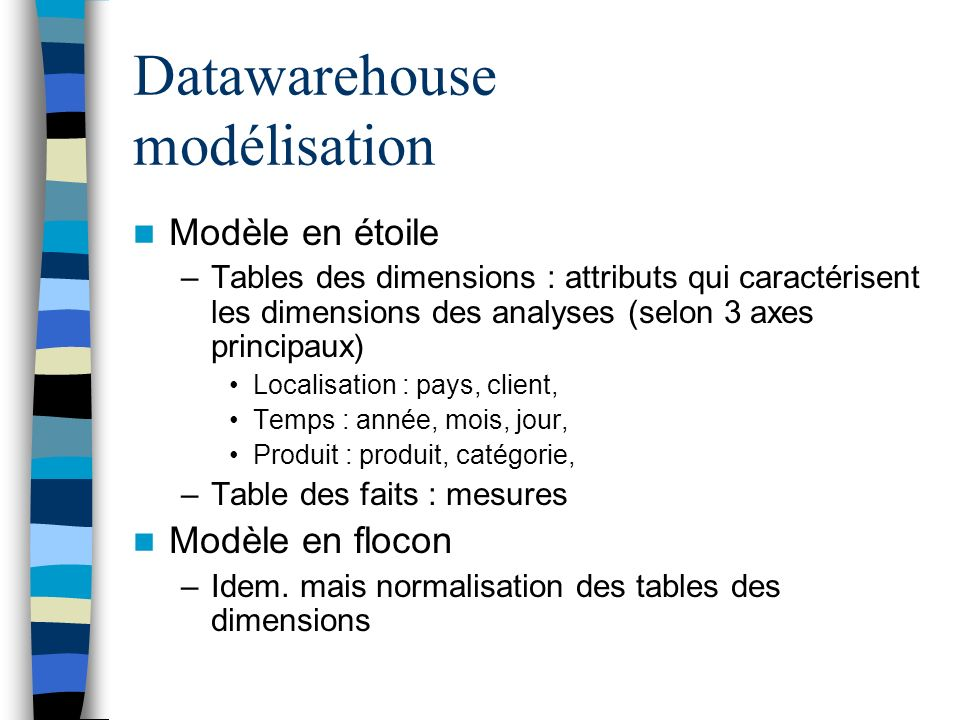 Datawarehouse modélisation