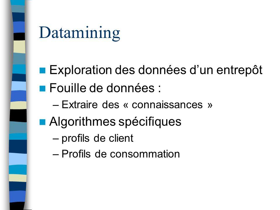 Datamining Exploration des données d'un entrepôt Fouille de données :