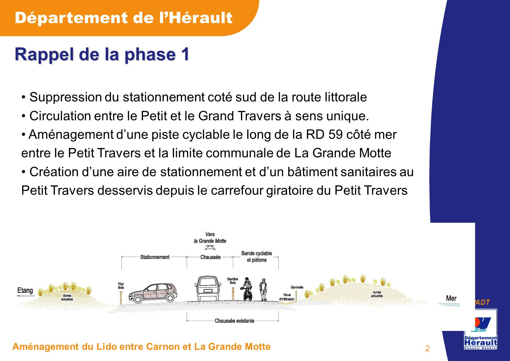 Rappel de la phase 1 Suppression du stationnement coté sud de la route littorale. Circulation entre le Petit et le Grand Travers à sens unique.
