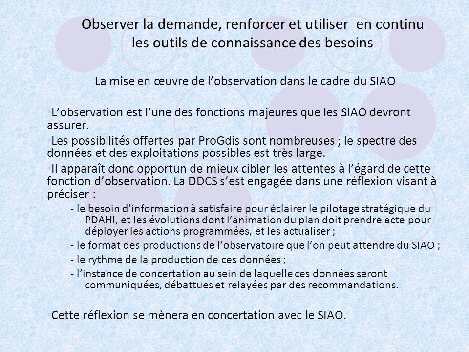La mise en œuvre de l'observation dans le cadre du SIAO