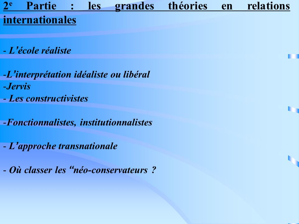2e Partie : les grandes théories en relations internationales