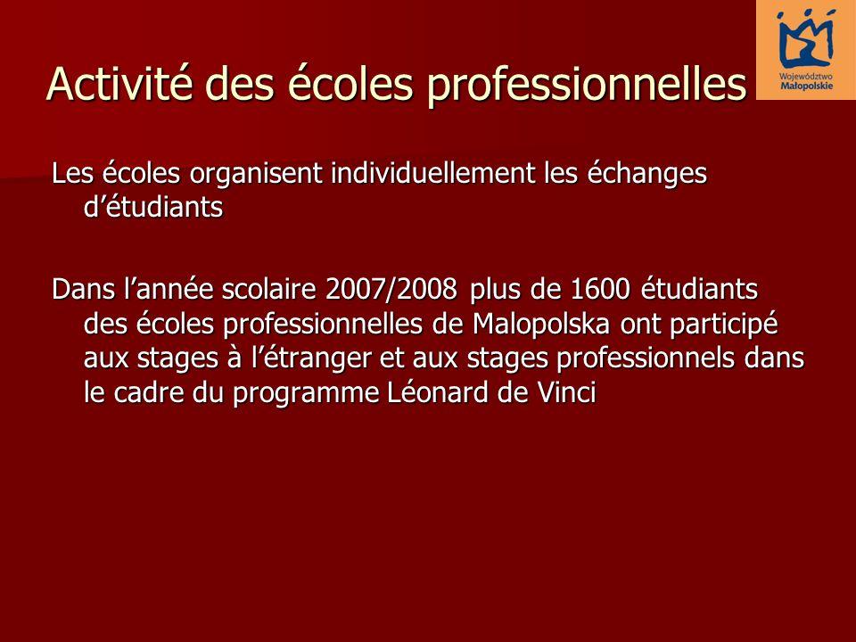 Activité des écoles professionnelles