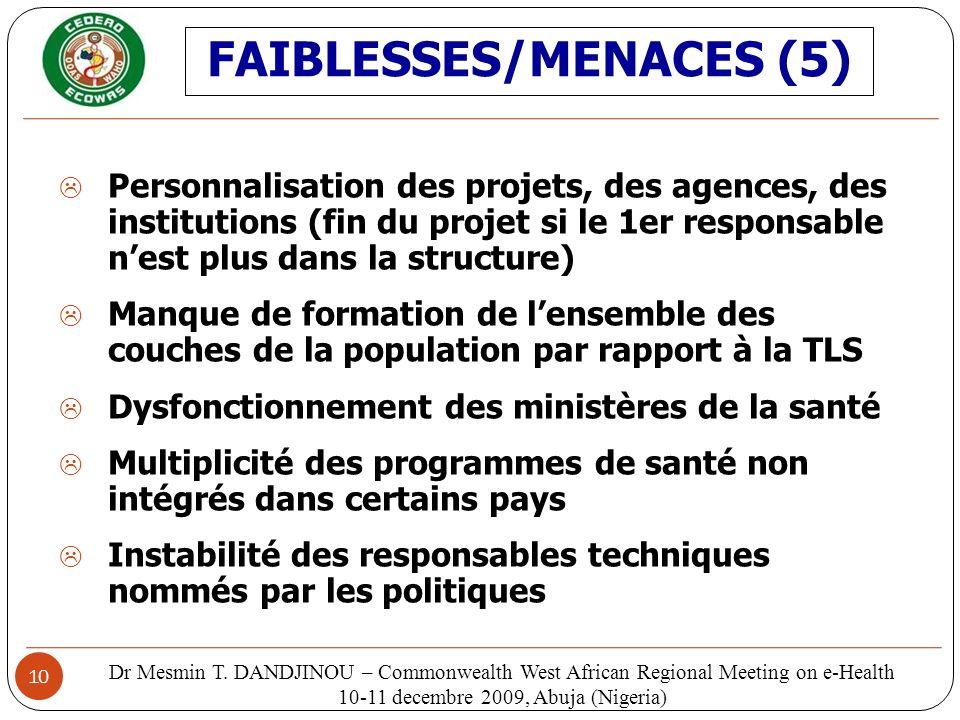 FAIBLESSES/MENACES (5)