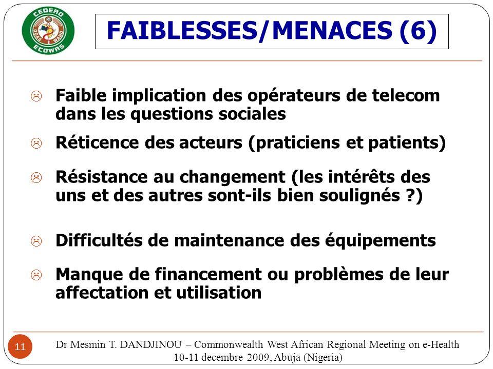 FAIBLESSES/MENACES (6)