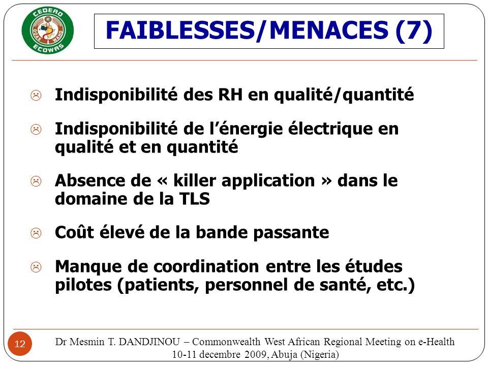 FAIBLESSES/MENACES (7)