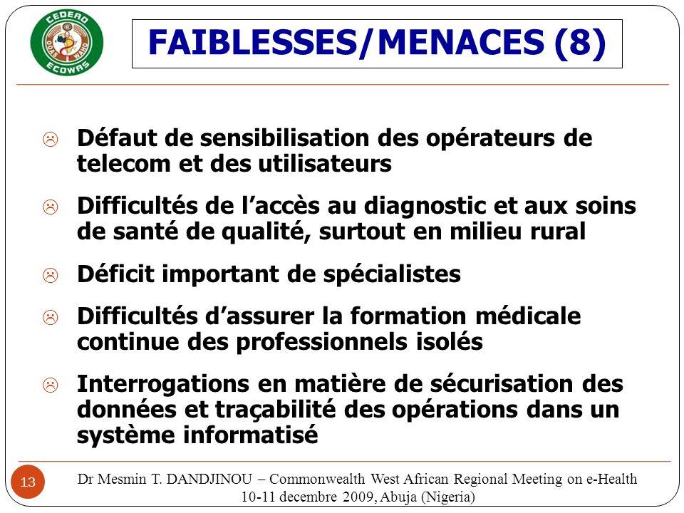 FAIBLESSES/MENACES (8)