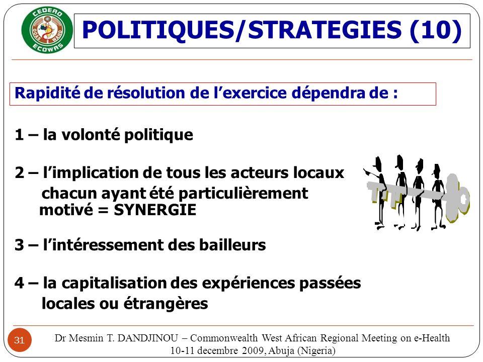 POLITIQUES/STRATEGIES (10)