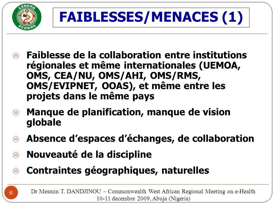 FAIBLESSES/MENACES (1)