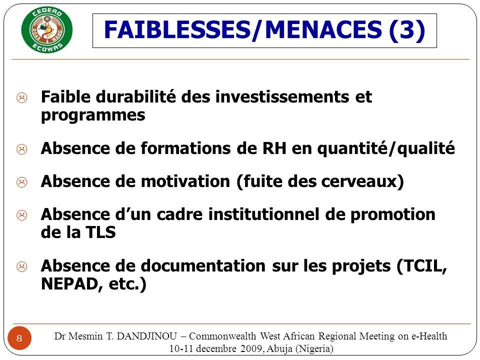 FAIBLESSES/MENACES (3)