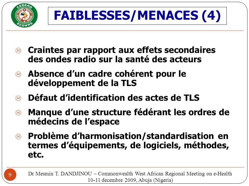 FAIBLESSES/MENACES (4)
