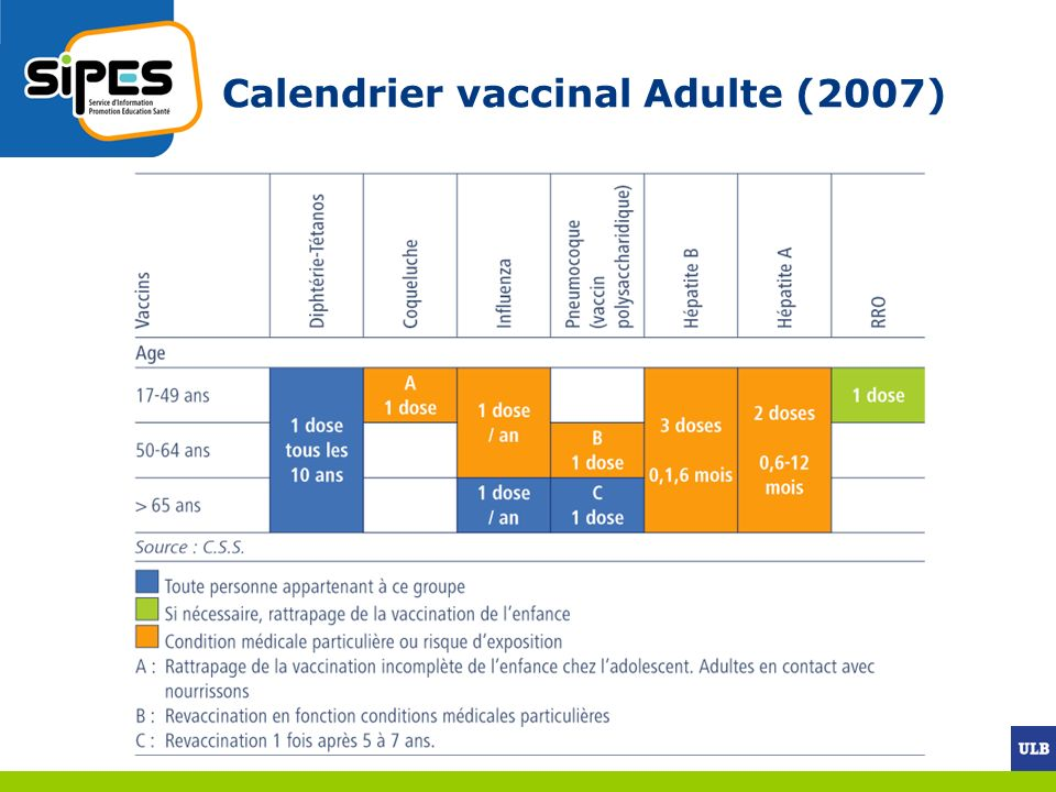 Calendrier vaccinal Adulte (2007)