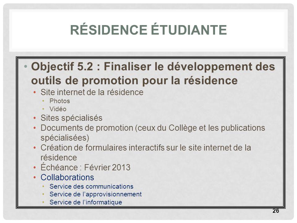 Résidence étudiante Objectif 5.2 : Finaliser le développement des outils de promotion pour la résidence.