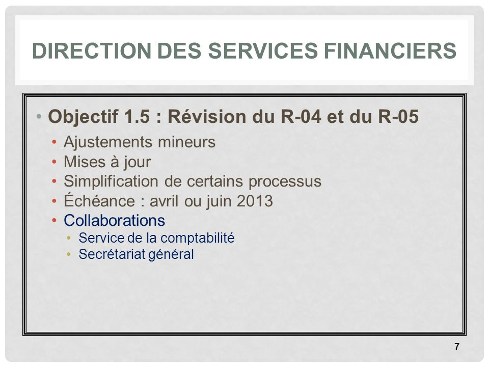 Direction des services financiers