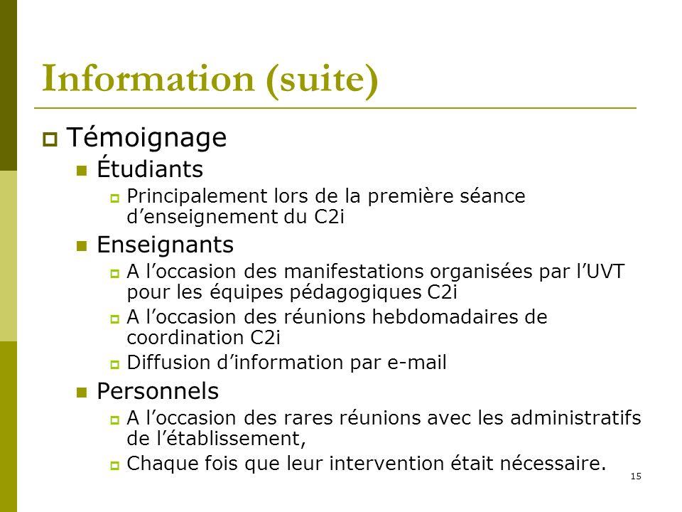 Information (suite) Témoignage Étudiants Enseignants Personnels