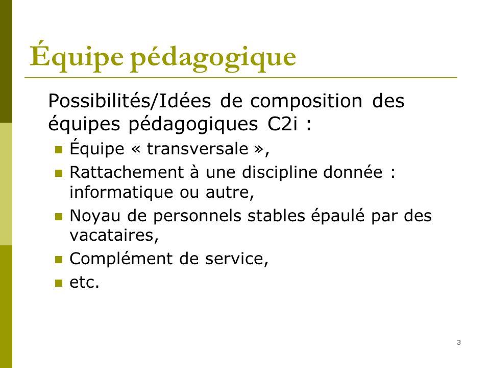 Équipe pédagogique Possibilités/Idées de composition des équipes pédagogiques C2i : Équipe « transversale »,