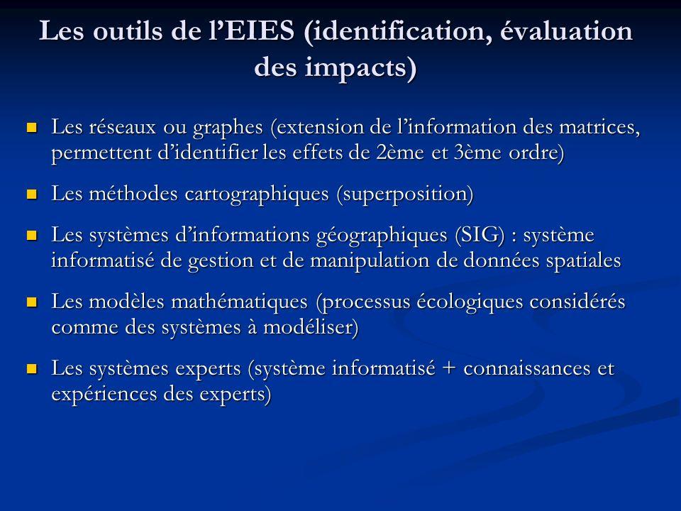 Les outils de l'EIES (identification, évaluation des impacts)