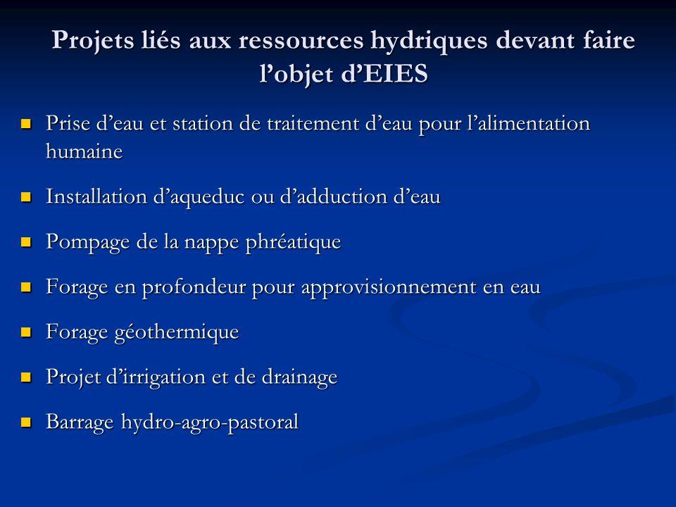 Projets liés aux ressources hydriques devant faire l'objet d'EIES