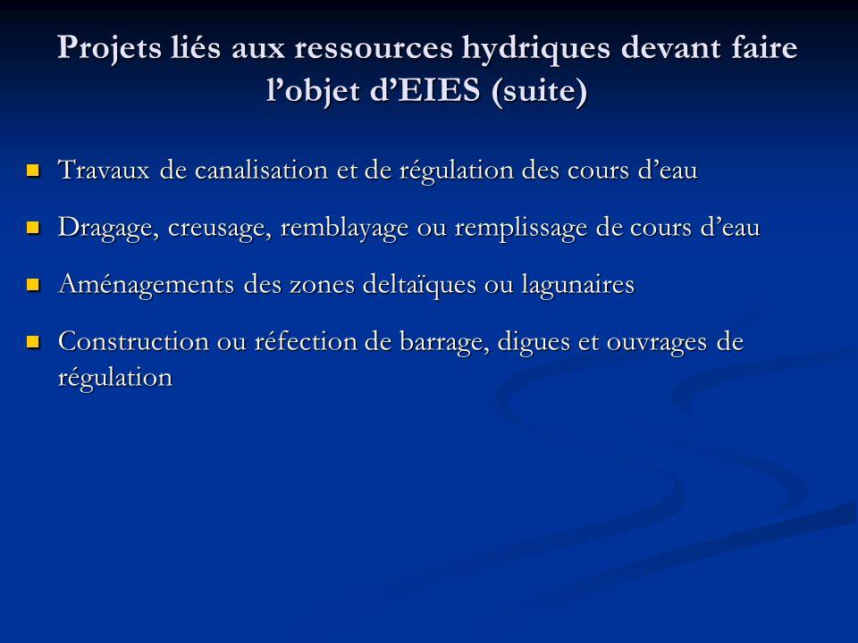 Projets liés aux ressources hydriques devant faire l'objet d'EIES (suite)