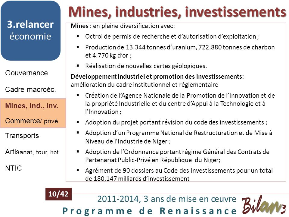 Mines, industries, investissements