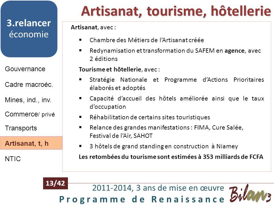 Artisanat, tourisme, hôtellerie
