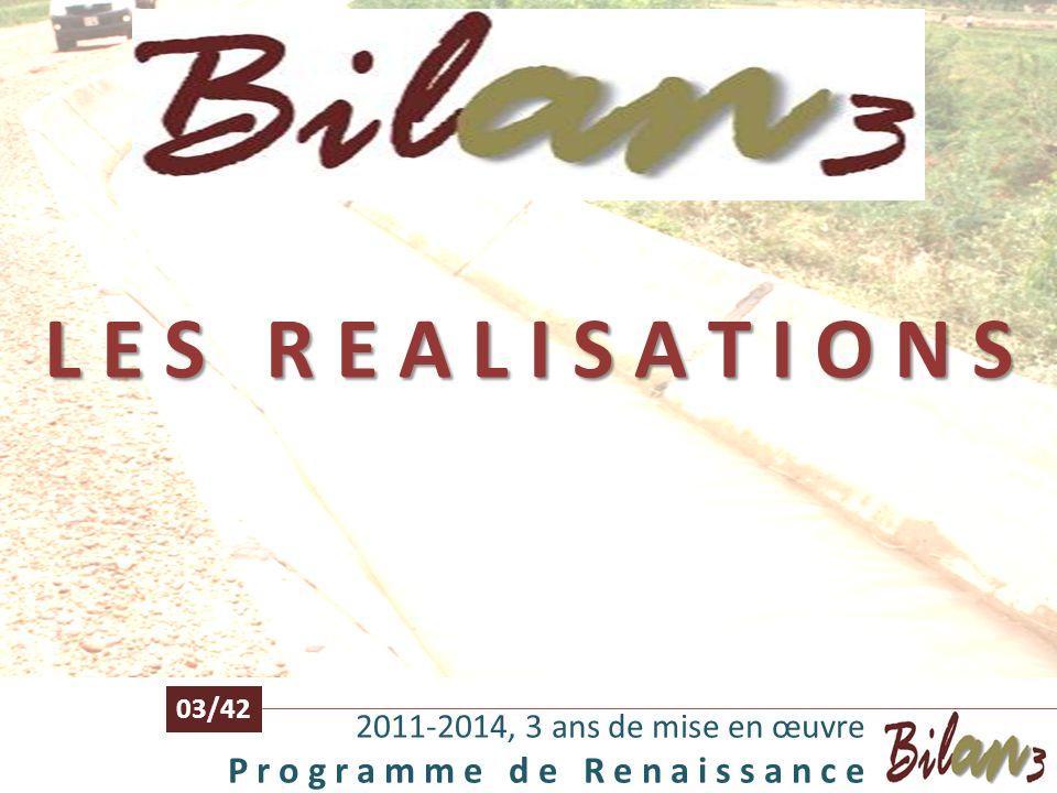 L E S R E A L I S A T I O N S 03/42. 2011-2014, 3 ans de mise en œuvre.