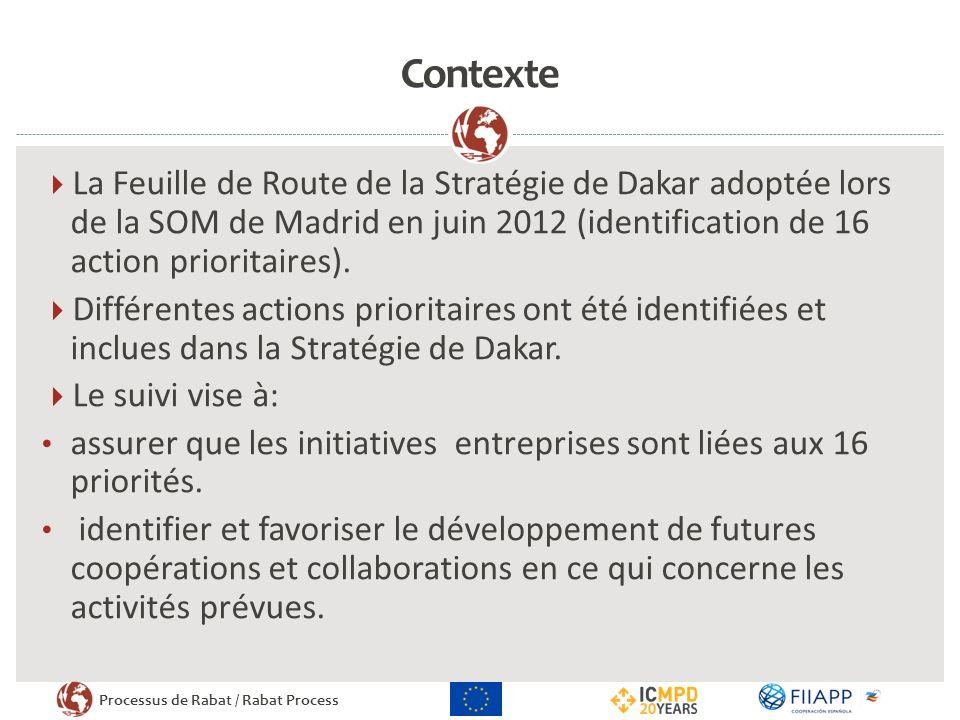 Contexte La Feuille de Route de la Stratégie de Dakar adoptée lors de la SOM de Madrid en juin 2012 (identification de 16 action prioritaires).