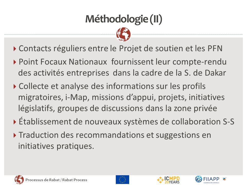 Méthodologie (II) Contacts réguliers entre le Projet de soutien et les PFN.