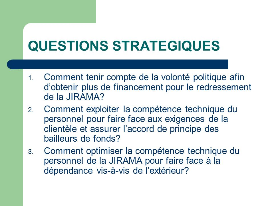 QUESTIONS STRATEGIQUES