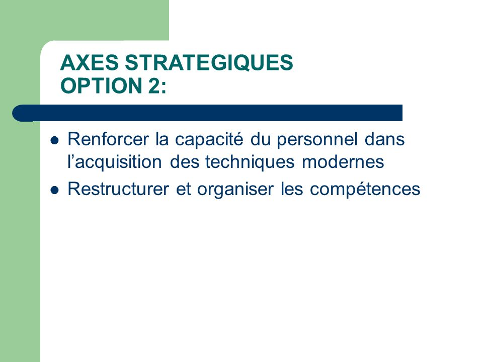 AXES STRATEGIQUES OPTION 2: