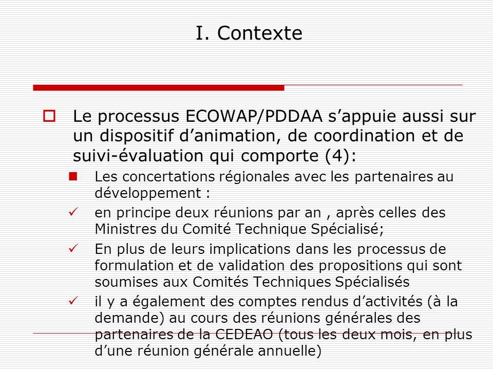 I. Contexte Le processus ECOWAP/PDDAA s'appuie aussi sur un dispositif d'animation, de coordination et de suivi-évaluation qui comporte (4):