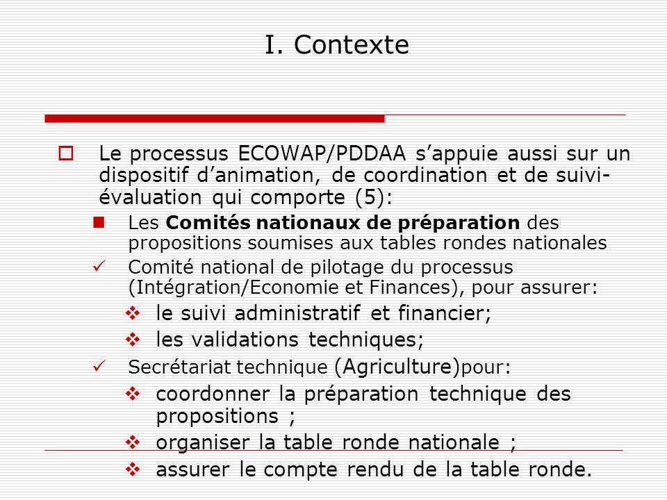 I. Contexte Le processus ECOWAP/PDDAA s'appuie aussi sur un dispositif d'animation, de coordination et de suivi-évaluation qui comporte (5):