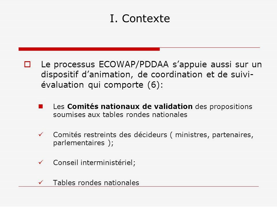 I. Contexte Le processus ECOWAP/PDDAA s'appuie aussi sur un dispositif d'animation, de coordination et de suivi-évaluation qui comporte (6):