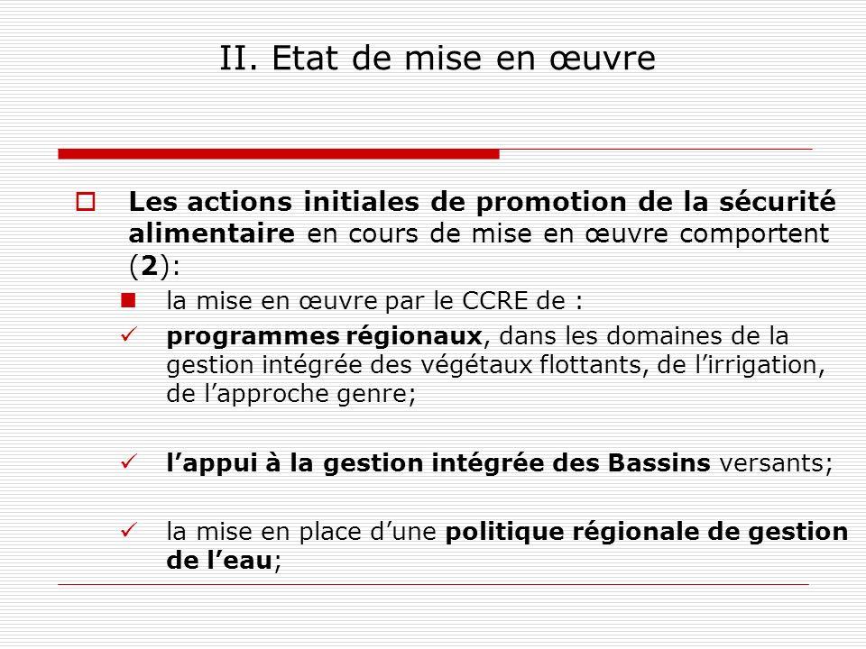 II. Etat de mise en œuvre Les actions initiales de promotion de la sécurité alimentaire en cours de mise en œuvre comportent (2):