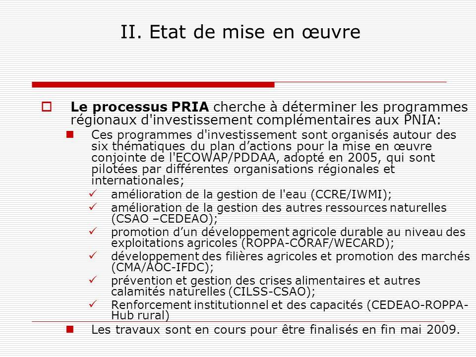 II. Etat de mise en œuvre Le processus PRIA cherche à déterminer les programmes régionaux d investissement complémentaires aux PNIA: