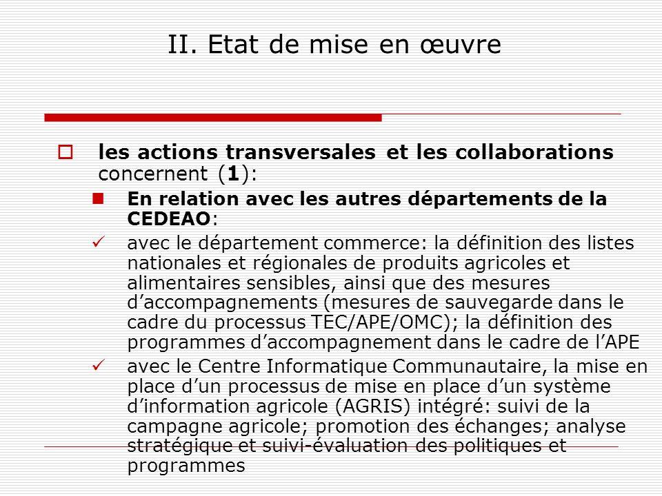 II. Etat de mise en œuvre les actions transversales et les collaborations concernent (1): En relation avec les autres départements de la CEDEAO: