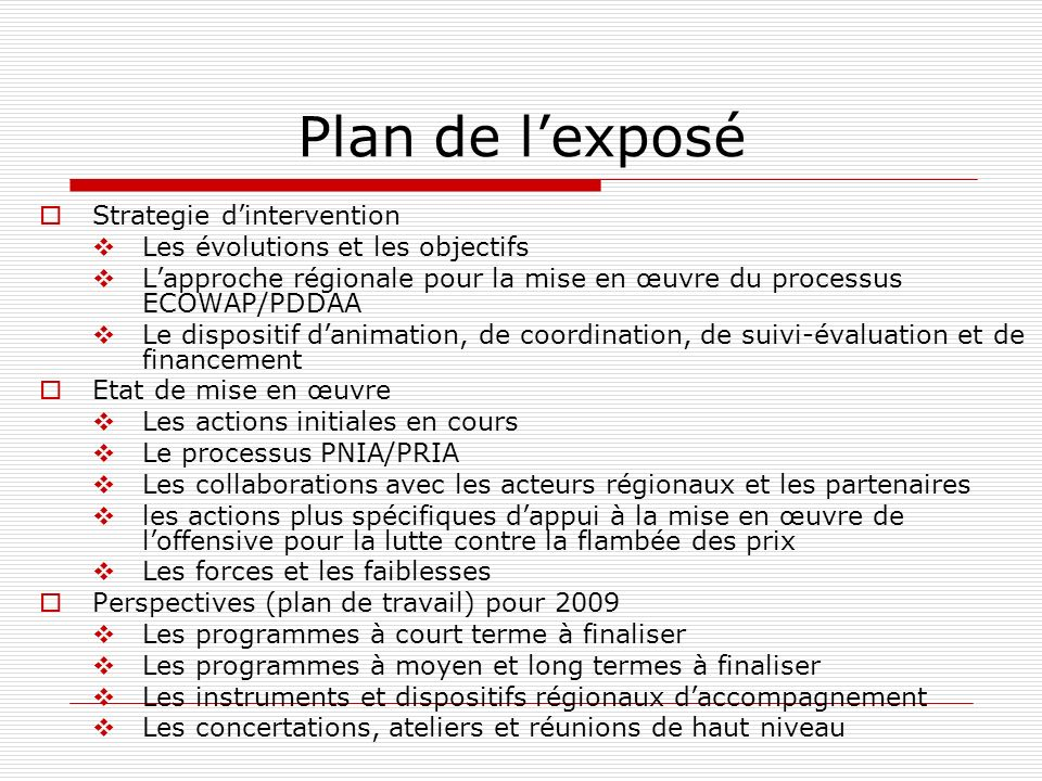 Plan de l'exposé Strategie d'intervention
