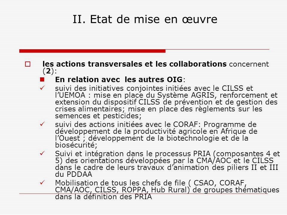II. Etat de mise en œuvre les actions transversales et les collaborations concernent (2): En relation avec les autres OIG: