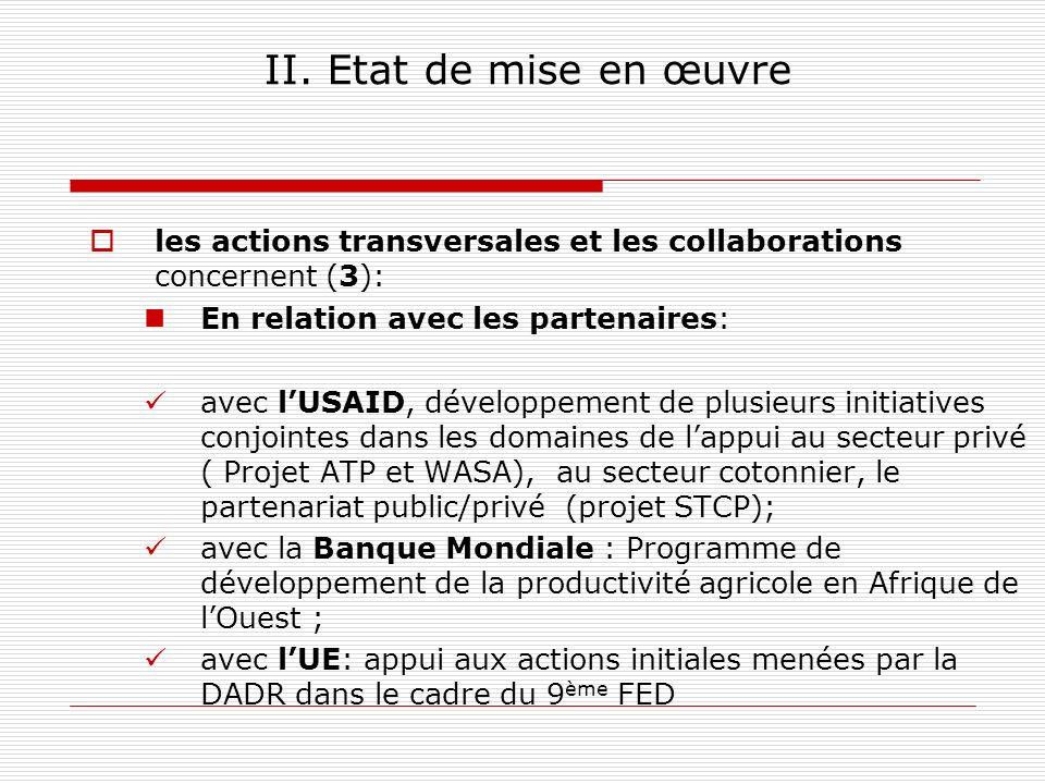 II. Etat de mise en œuvre les actions transversales et les collaborations concernent (3): En relation avec les partenaires: