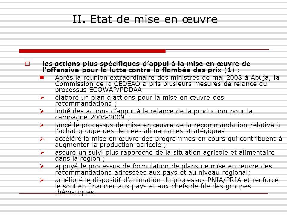 II. Etat de mise en œuvre les actions plus spécifiques d'appui à la mise en œuvre de l'offensive pour la lutte contre la flambée des prix (1) :