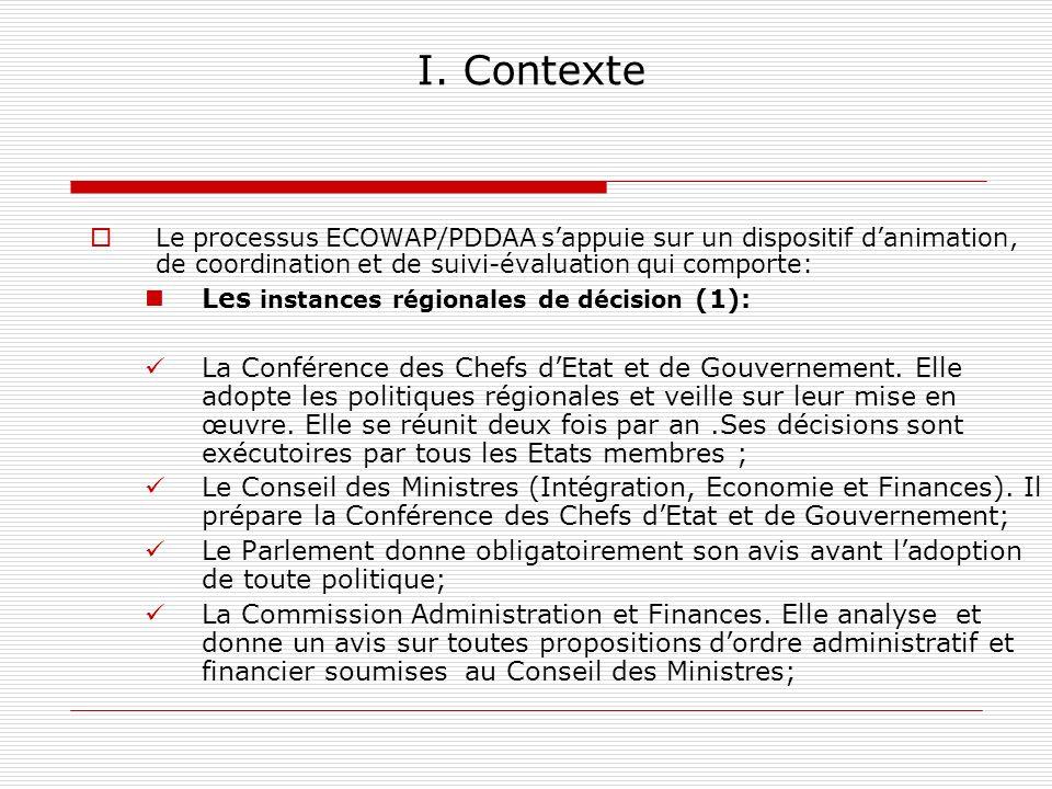 I. Contexte Les instances régionales de décision (1):