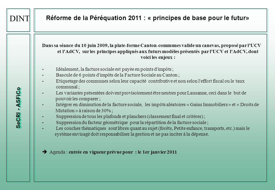 DINT Réforme de la Péréquation 2011 : « principes de base pour le futur» SeCRI - ASFiCo.