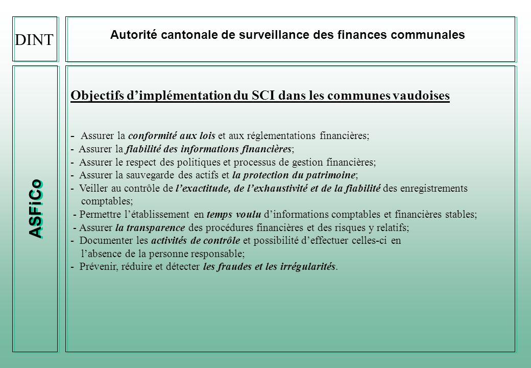 DINT Autorité cantonale de surveillance des finances communales. ASFiCo. Objectifs d'implémentation du SCI dans les communes vaudoises.