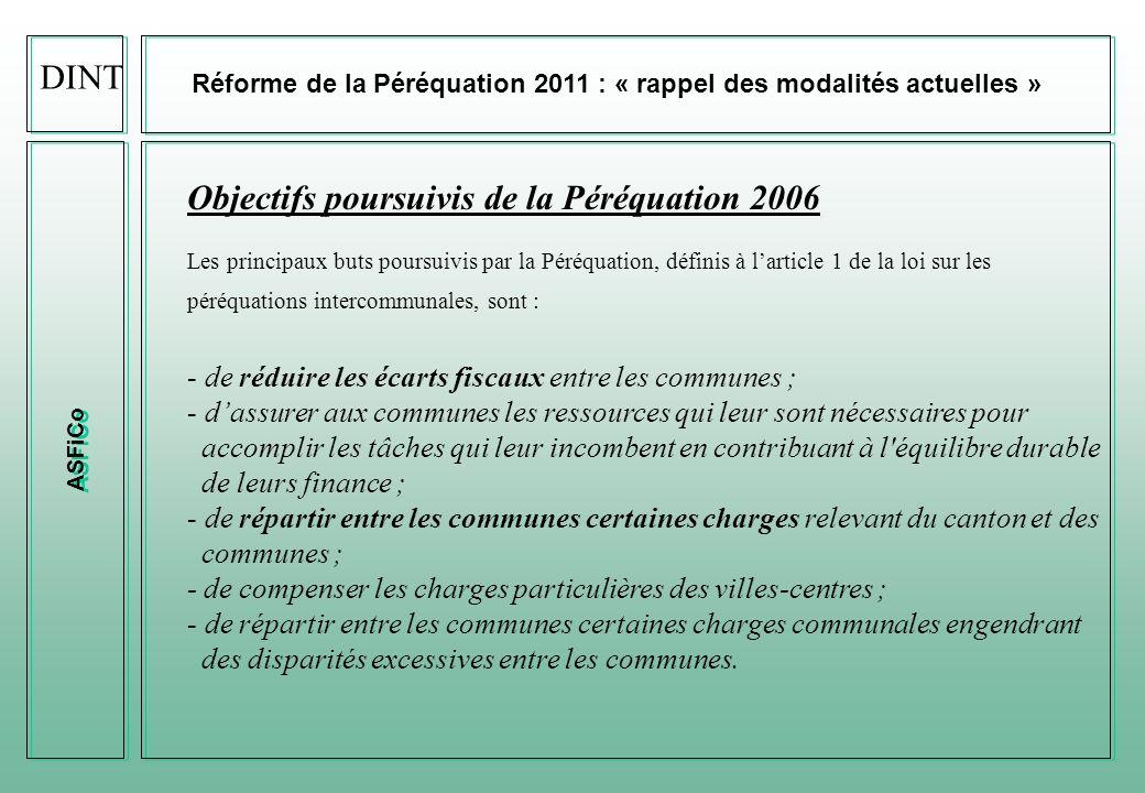 Objectifs poursuivis de la Péréquation 2006